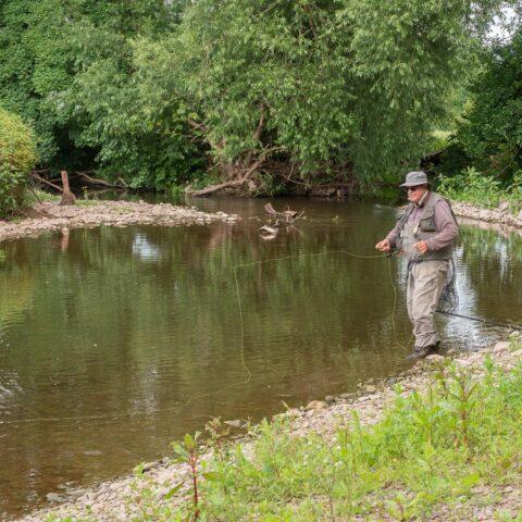 Fishing on the Afon Llynfi (Powys)